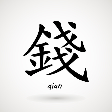 chinese meaning - money. Chinese characters qian, means money. Traditional Chinese Calligraphy , isolated on white background.