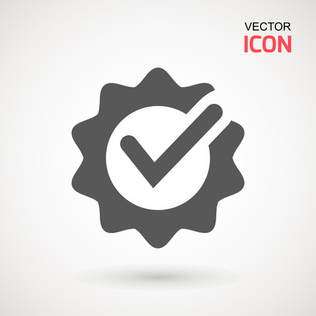 Approved or certified medal icon in a flat design. Rosette icon. Award vector Illustration