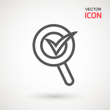 Check mark search graphic design single icon vector illustration