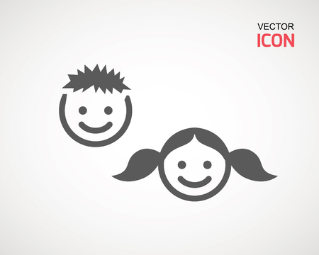 girl and boy icon on white background. child symbol . Kids icons , children vector illustration