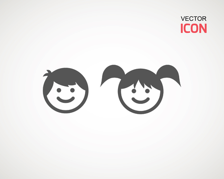 girl and boy icon on white background. child symbol . Kids icons , children vector illustration Banco de Imagens - 124729285