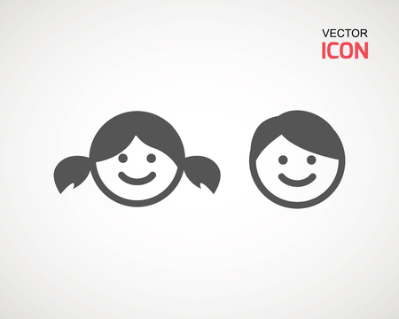 girl and boy icon on white background. child symbol . Kids icons , children vector illustration Banco de Imagens - 124729286