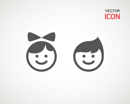 girl and boy icon on white background. child symbol . Kids icons , children vector illustration Banco de Imagens - 124729287