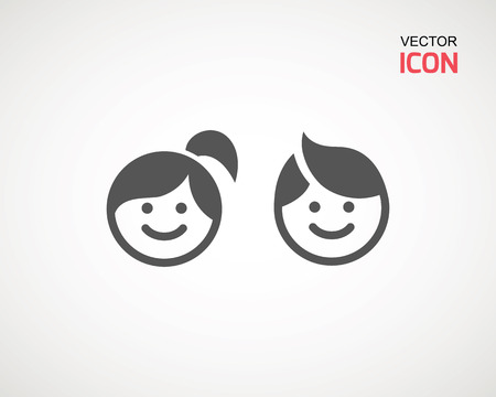girl and boy icon on white background. child symbol . Kids icons , children vector illustration Banco de Imagens - 124729289