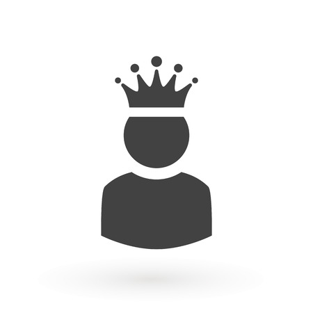King User Icon Logo Design Element. Admin icon. Administrator. Crowned king sign. Manager symbol. Power user icon. Ceo. Vettoriali