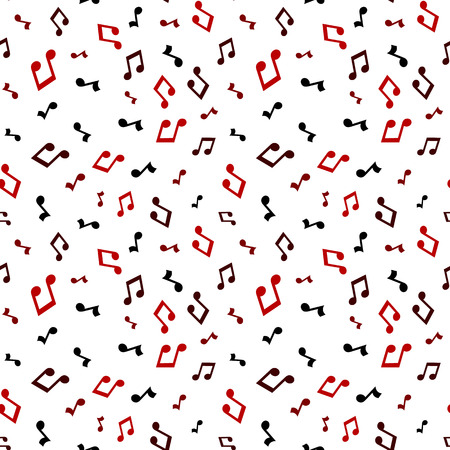 Red music seamless pattern background vector illustration for your design. Vector seamless pattern musical notes - Vector