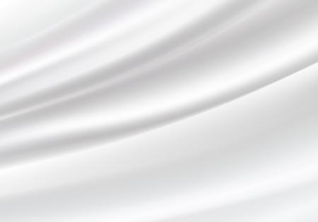 Fondo de satén de seda blanca suave textura de fondo. Hermosa seda blanca. Fondo de textiles para cortinas, ilustración vectorial