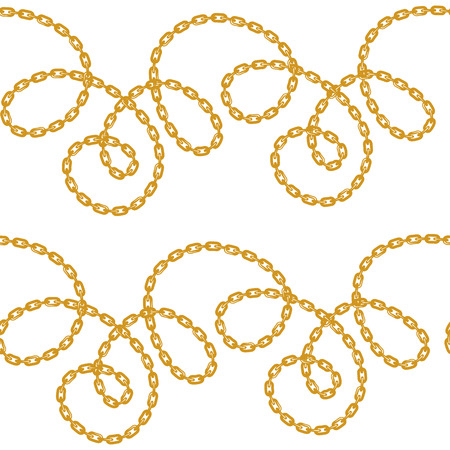 Baroque golden chain background. Seamless pattern. seamless pattern with chains. Vector patch for print, fabric, scarf.