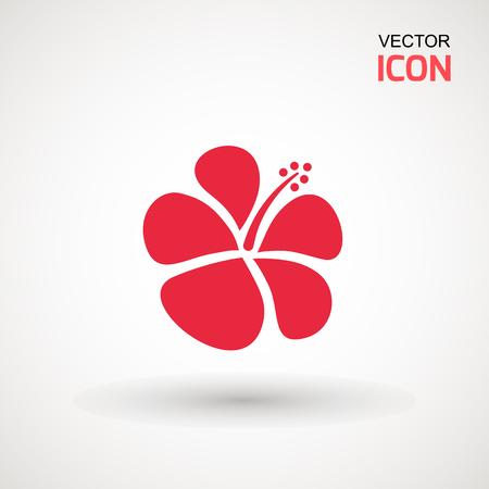 Flor de hibisco, icono. Icono de hibisco aislado sobre fondo blanco. Arte vectorial