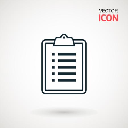 Checklist icon. Declarations linear icon. Flat illustration of clipboard with checklist