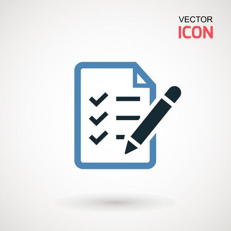 Icona della lista di controllo. Icona lineare di dichiarazioni. Illustrazione piatta degli appunti con lista di controllo