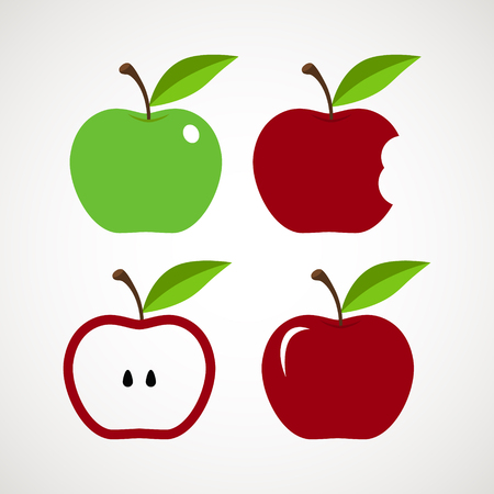 Red Apple, apple core, bitten, half vector icons - Vector