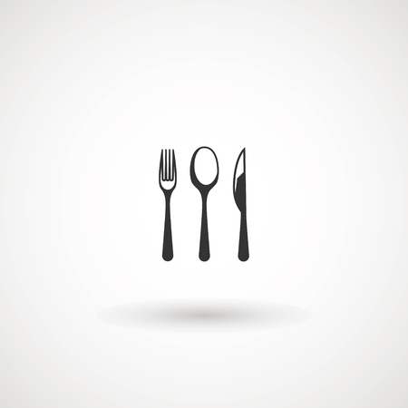 knife, fork and spoon on white background. Vector illustration - Vector illustration