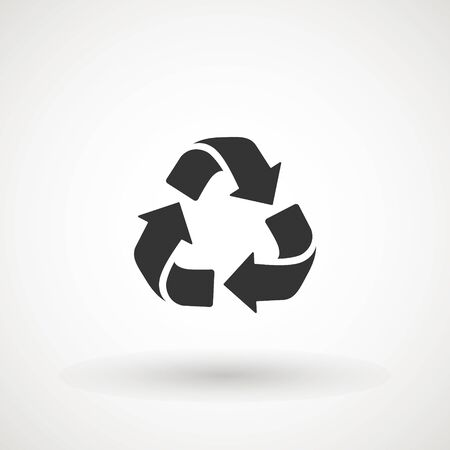 recycle arrows symbol icon. Recyclable Badge. Recycling sign. Black flat design. Vector Illustration Ilustração