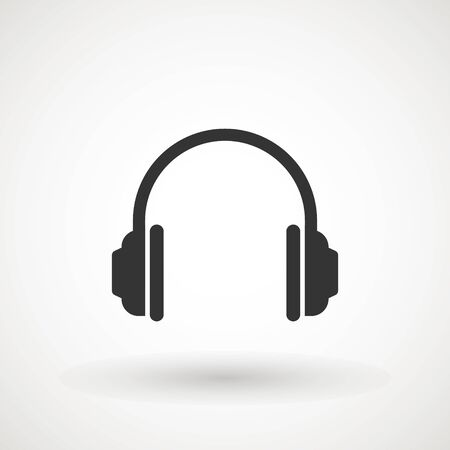 Headphone vector. Vector headphones icon. Black symbol. Isolated Flat Web Mobile Icon