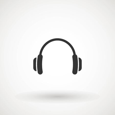 Headphone vector. Vector headphones icon. Black symbol. Isolated Flat Web Mobile Icon