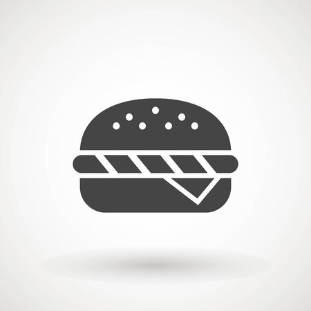 Burger Hamburger icon illustration web site mobile   app UI design, meat, beef, food, lettuce, sandwich, meal, grilled, tomato, bun, snack, onion cheese sign symbol Fast food vector Stockfoto - 129228160