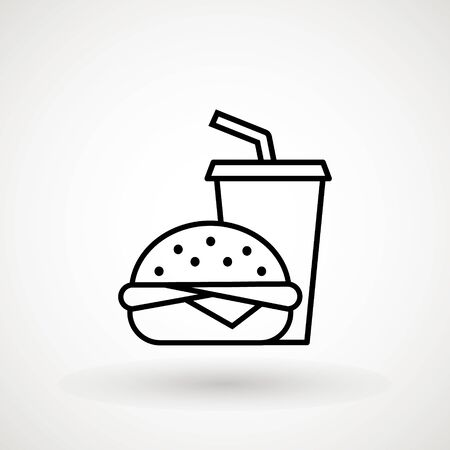 Burger Hamburger icon illustration web site mobile logo app UI design, meat, beef, food, lettuce, sandwich, meal, grilled, tomato, bun, snack, onion cheese sign symbol Fast food vector