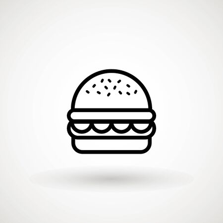 Burger Hamburger icon illustration web site mobile app UI design, meat, beef, food, lettuce, sandwich, meal, grilled, tomato, bun, snack, onion, cheese sign symbol. Fast food vector. Stockfoto - 129228162