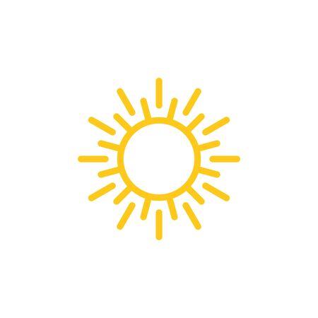 Ilustración de vector de icono de símbolo de signo de sol. Uso del icono del borde del vector del sol para paneles de administración, sitios web, interfaces, aplicaciones móviles