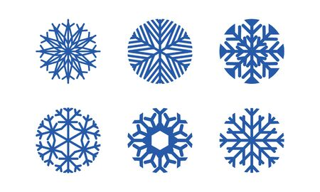 Blue snowflakes set new year vector design. set of blue snowflakes on white background.