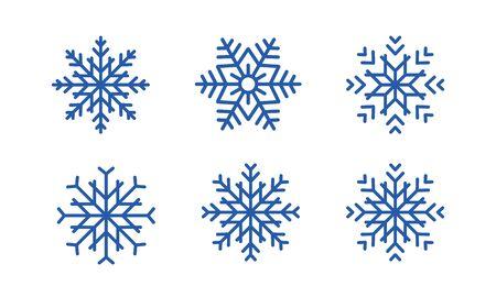 Blaue Schneeflocken stellen Vektordesign des neuen Jahres ein. Satz blaue Schneeflocken auf weißem Hintergrund. Vektorgrafik