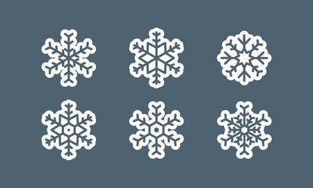 Snowflake vector icon on grey background.