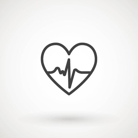 Heartbeat heart beat pulse flat vector icon for medical apps and websites. Illustration