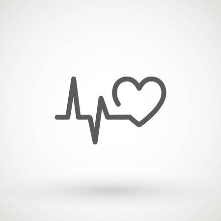 Heartbeat heart beat pulse flat vector icon for medical apps and websites. 向量圖像