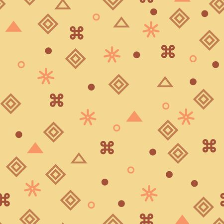 Tribal ethnic vector patchwork texture. Indian batik. African seamless with adinkra symbols. American indian vector ethnic art. Ethnic boho seamless pattern. Abstract nature background. Çizim