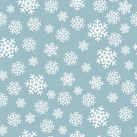 Snowflake seamless pattern. Snow on white background. Abstract wallpaper, wrapping decoration. Symbol winter, Merry Christmas holiday, Happy New Year celebration Vector illustration.