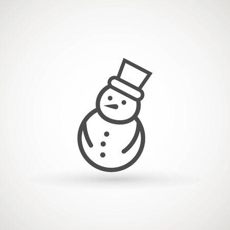 Snowman icon vector illustration on white background for Christmas design. Snowman xmas icon Çizim
