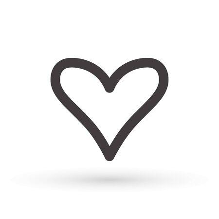 heart icon, concept of love, linear icon thin grey line. Heart shape vector, gray icon.Outline love symbol graphic design Çizim