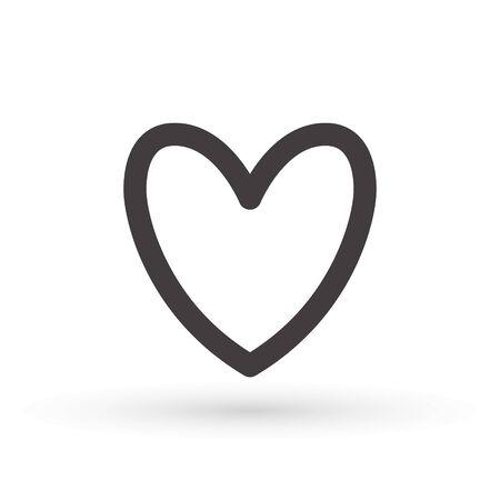 heart icon, concept of love, linear icon thin grey line. Heart shape vector, gray icon. Outline love symbol graphic design