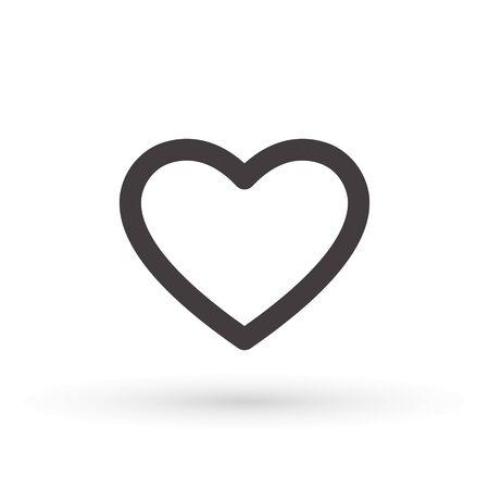 heart icon, concept of love, linear icon thin grey line. Heart shape vector, gray icon. Outline love symbol graphic design. Çizim