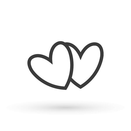 Two lovers hearts. Love symbol. Double heart Icon Vector. Valentine Icon Drawing. Çizim