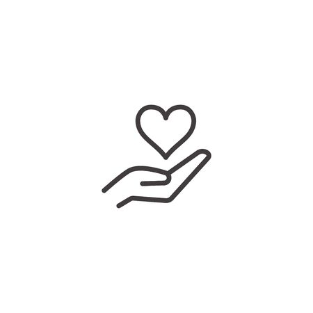 Hand Giving Love Symbol. Healthcare Hand holding heart shape, vector icon. Charity and donation symbol, logo illustration. Vector graphics