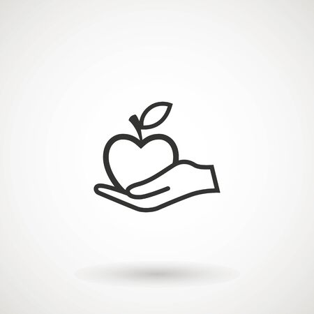 Apple in hand icon. Hand holding an apple, logo on white background