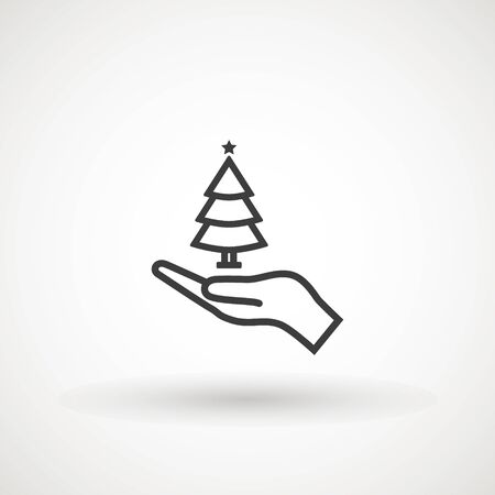 Save forest sign icon. Hand holds Christmas tree icon symbol. Saving forests. Thin line illustration. Nature care. Vector isolated outline drawing Çizim