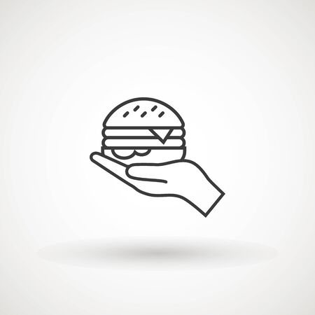 Open hand with hamburger glyph icon. Silhouette symbol. Cheeseburger for free.Vector isolated illustration