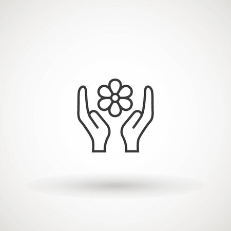 Flower in hand vector icon. filled flat sign for mobile concept and web design. Hand holding blossom simple solid icon. Symbol, logo illustration. Pixel perfect vector graphics