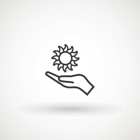 Hand protecting sun icon stock vector. Weather logo. Hand holding the sun.