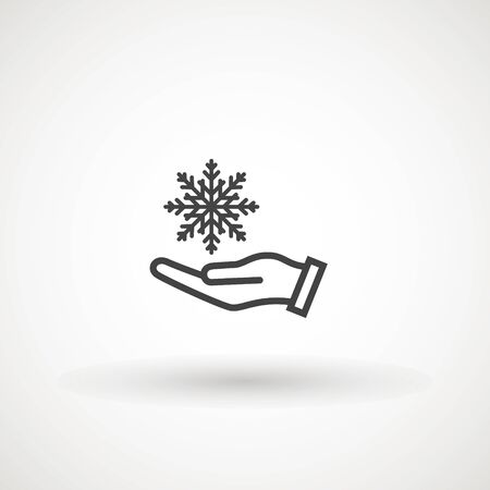 Vector hand and snowflake icon, logo on white background. Hand holding snowflake icon.