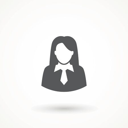User Icon - Woman Female Vector People Person Profile Avatar in glyph Pictogram. Business woman icon, flat sign isolated on white background. Simple vector illustration for graphic and web design