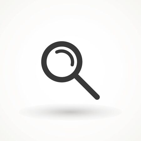 Magnify icon. Magnifying glass icon, vector magnifier or loupe sign. Search vector, magnifying glass pictogram. Zoom symbol  イラスト・ベクター素材
