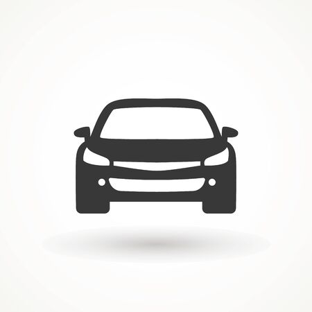 Car vector icon. Isolated simple view front logo illustration. Sign symbol. Auto style car logo design with concept sports vehicle icon silhouette. Vettoriali