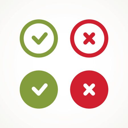Znaki kleszcza i krzyża. Zielony znacznik wyboru OK i czerwone ikony X, prosty projekt graficzny oznacza. Symbole kółek TAK i NIE Przycisk do głosowania, ikony listy pól wyboru. Sprawdź wektor znaków