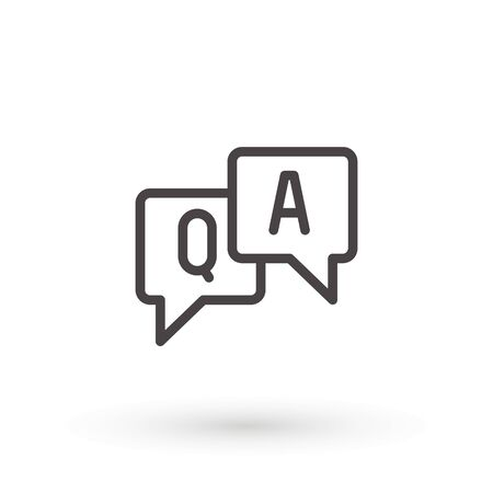 Questions and answers icon. Line outline, Q and A speech outline sign. FAQ, Symbol, logo