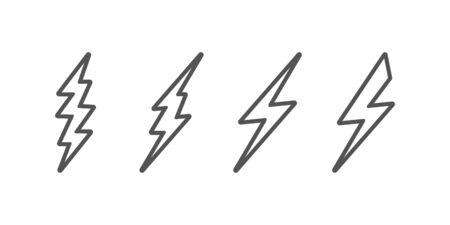 Bolt of lightning vector. Set of Lightning illustration. Streak of lightning sign. Electric bolt flash icon. Thunder strike logo. Charge flash icon. Thunderbolt Flash icon.