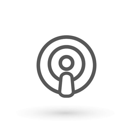 Podcast icon flat design. Podcast Icon. Broadcasting Illustration As A Simple Vector Sign Trendy Symbol for Design, Websites, Presentation or Application. Vector illustration.